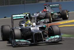 Nico Rosberg, Mercedes F1 W03, leads Michael Schumacher, Mercedes F1 W03
