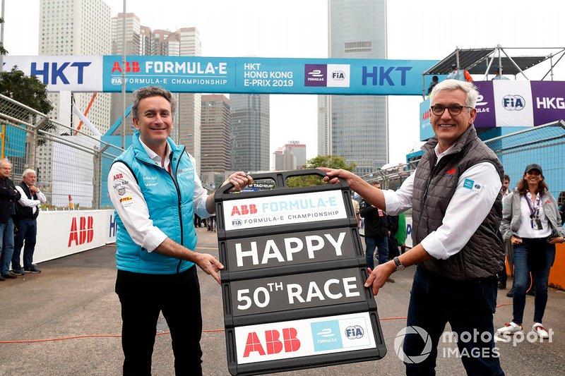 Alejandro Agag, CEO, Formula E, con Ulrich Spiesshofer, CEO, ABB