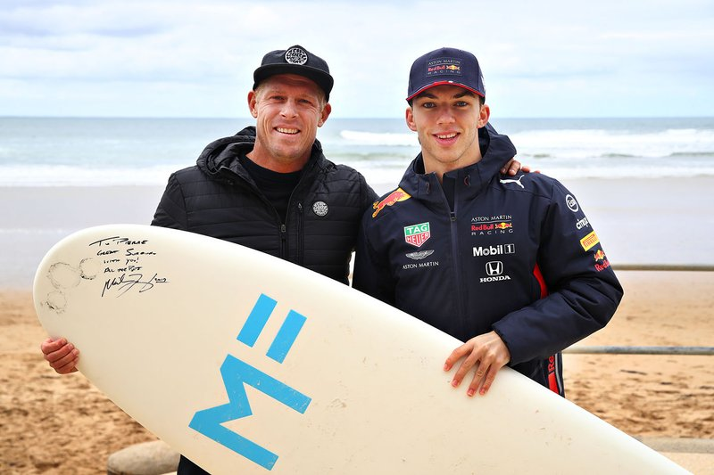 Pierre Gasly, Red Bull Racing prepares to go surfing