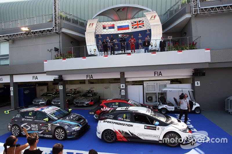 Podium: Race winner Mikhail Grachev, Honda Civic TCR , WestCoast Racing; second place Dusan Borkovic