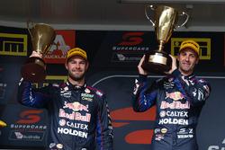 Podium race winner: Jamie Whincup, Triple Eight Race Engineering Holden, second place Shane van Gisbergen, Triple Eight Race Engineering Holden
