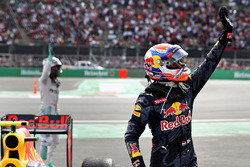 Max Verstappen, Red Bull Racing waves to the crowd in parc ferme