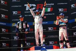 Podium: second place Mato Homola, B3 Racing Team Hungary, SEAT León TCR; Winner Mikhail Grachev, West Coast Racing, Honda Civic TCR; third place Stefano Comini, Leopard Racing, Volkswagen Golf GTI TCR