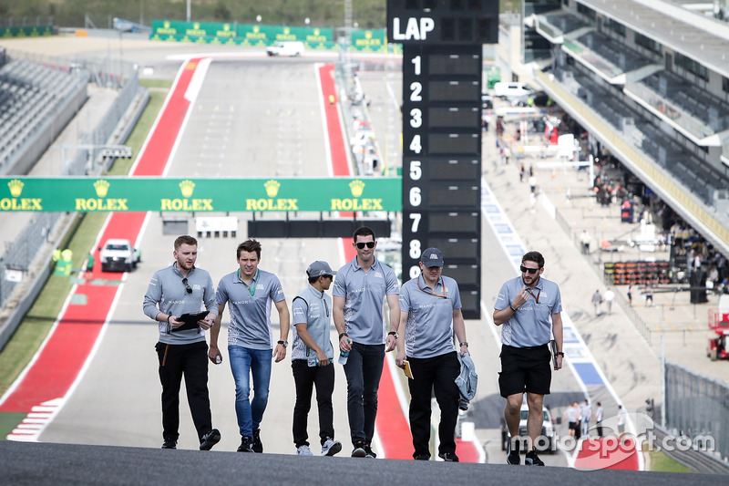 Jordan King, Manor Racing Development Driver and Alexander Rossi, Manor Racing Reserve Driver walk the circuit with the team