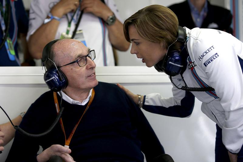 Sir Frank Williams, Williams Team Principal  and Claire Williams, Williams Deputy Team Principal