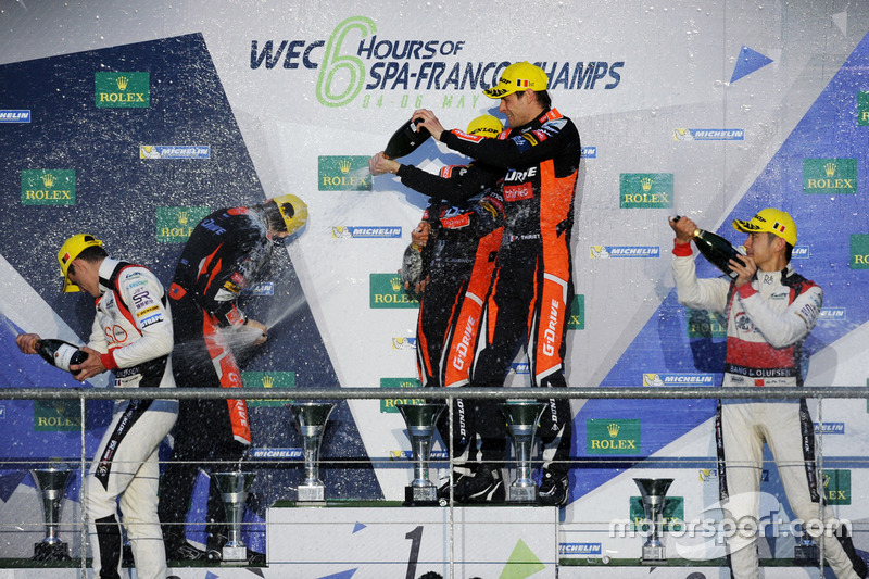 Podium LMP2: first place Roman Rusinov, Pierre Thiriet, Alex Lynn, G-Drive Racing, second place Julien Canal, Bruno Senna, Nicolas Prost, Vaillante Rebellion Racing, third place Ho-Pin Tung, Oliver Jarvis, Thomas Laurent, DC Racing