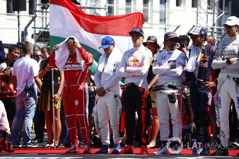 Sebastian Vettel, Ferrari, Valtteri Bottas, Mercedes AMG F1, Max Verstappen, Red Bull Racing, Fernando Alonso, McLaren, Carlos Sainz Jr., Scuderia Toro Rosso and Esteban Ocon, Force India