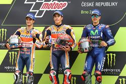 Podium: Race winner Marc Marquez, Repsol Honda Team, second place Dani Pedrosa, Repsol Honda Team, third place Maverick Viñales, Yamaha Factory Racing