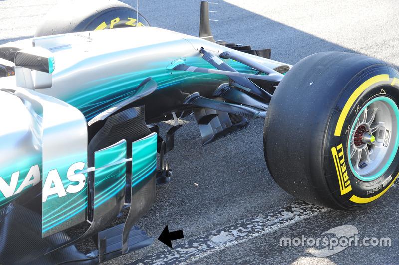 Les ailettes de la Mercedes AMG F1 W08