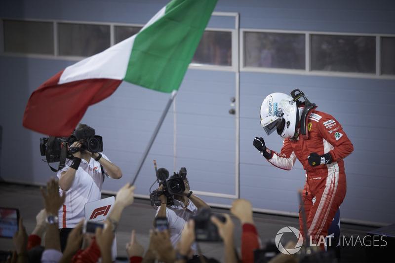 Sebastian Vettel, Ferrari, 1st position, celebrates upon arrival in Parc Ferme