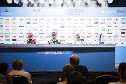 Jean-Eric Vergne, Techeetah, nella conferenza stampa post-race con Lucas di Grassi, Audi Sport ABT Schaeffler, Sam Bird, DS Virgin Racing