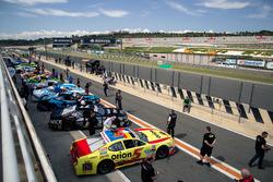 Cars in pitlane