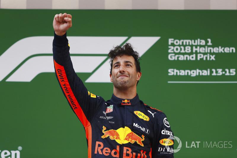 Daniel Ricciardo, Red Bull Racing, celebrates victory on the podium