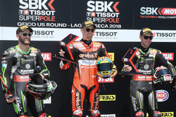 Володар поул-позиції Чаз Девіс, Aruba.it Racing-Ducati SBK Team, друге місце Том Сайкс, Kawasaki Racing, третє місце Джонатан Рей, Kawasaki Racing