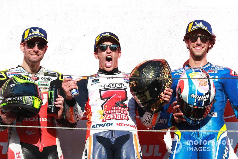 Podio: il vincitore della gara Marc Marquez, Repsol Honda Team, il secondo classificato Cal Crutchlow, Team LCR Honda, il terzo lassificato Alex Rins, Team Suzuki MotoGP