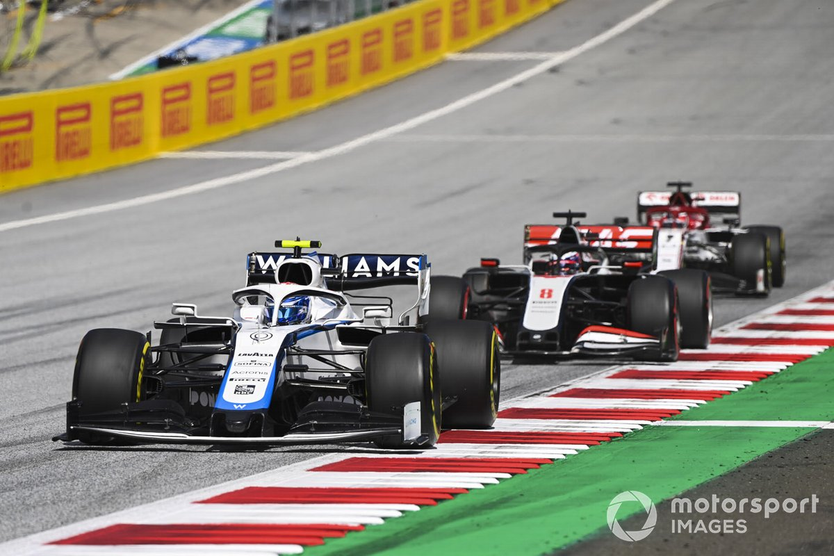 Nicholas Latifi, Williams FW43, Romain Grosjean, Haas VF-20 and Kimi Raikkonen, Alfa Romeo Racing C39