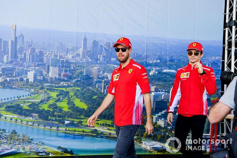 Sebastian Vettel, Ferrari y Charles Leclerc, Ferrari
