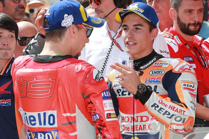 Poleman Marc Marquez, Repsol Honda Team, tercer clasificado Jorge Lorenzo, Ducati Team