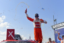 Kyle Larson, Chip Ganassi Racing, Chevrolet Camaro ENEOS celebrates in victory lane after winning