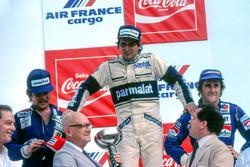 Podium: 1. Nelson Piquet, Brabham; 2. Keke Rosberg, Williams; 3. Alain Prost, Renault, vor Disqualifikation von Piquet und Rosberg