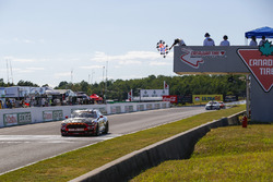 #60 Roush Performance / KohR Motorsports, Ford Mustang GT4, GS: Nate Stacy, Kyle Marcelli, Crosses the Finish Line under there checkered flag for the win.