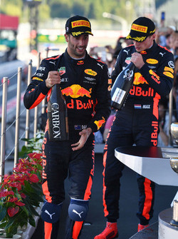 Daniel Ricciardo, Red Bull Racing and Max Verstappen, Red Bull Racing celebrate on the podium with the champagne