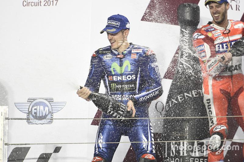 1. Maverick Viñales, Yamaha Factory Racing; 2. Andrea Dovizioso, Ducati Team