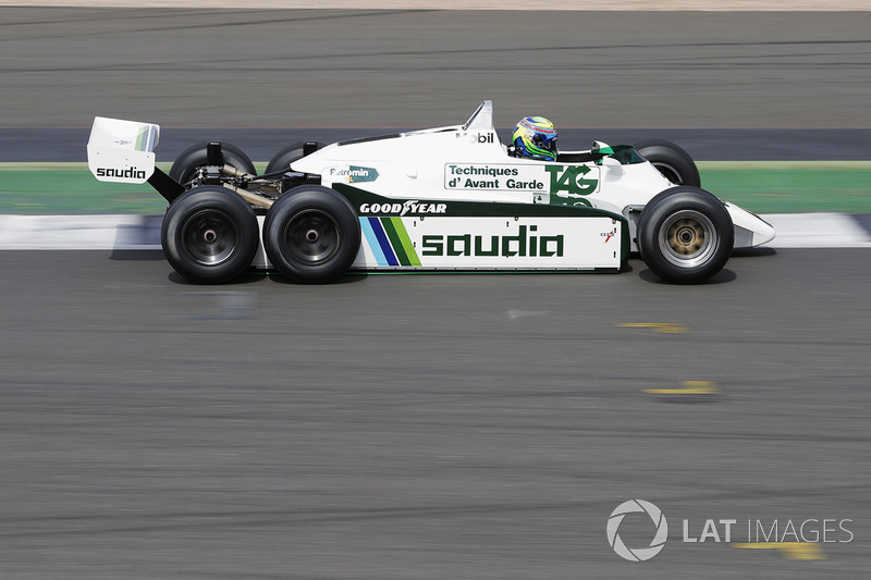 Felipe Massa, demonstrates a six-wheeled Williams FW08