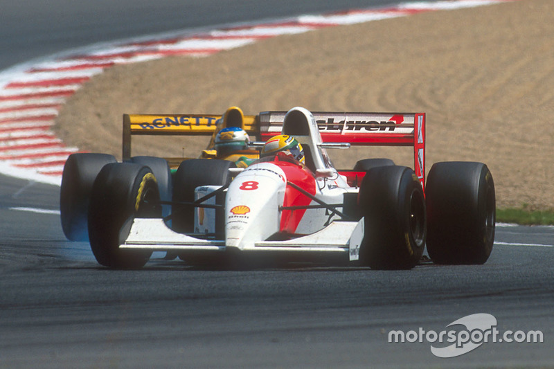 Ayrton Senna, McLaren MP4/8 Ford, Michael Schumacher, Benetton B193B Ford