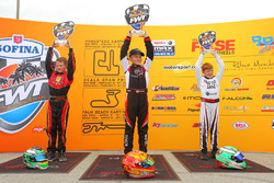 Micro Max race podium - Branyon Tiner (cen), Josh Pierson (right) and Jeremy Fletcher (left)
