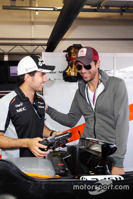 Sergio Pérez, Sahara Force India F1 con el cantante Enrique Iglesias