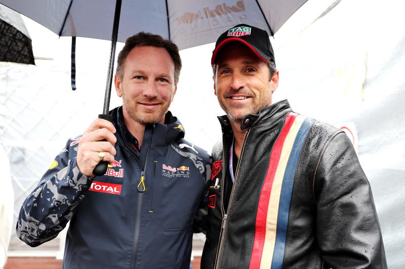 Christian Horner, Red Bull Racing, Teamchef, mit Schauspieler Patrick Dempsey