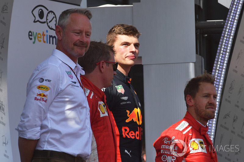 Podio: Max Verstappen, Red Bull Racing, Kimi Raikkonen, Ferrari, Sebastian Vettel, Ferrari, Jonathan Wheatley, Red Bull Racing Team Manager