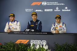 Conferenza stampa: il vincitore della gara Alexander Albon, DAMS, il secondo classificato Luca Ghiotto, Campos Racing, il terzo classificato Sergio Sette Camara, Carlin