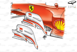 Ferrari F2003-GA bargeboard changes, note smaller outer bargeboard on new specification
