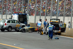Fernando Alonso, Renault F1 Team is stretchered away from the circuit