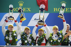 Overall podium: second place #38 DC Racing Oreca 07 Gibson: Ho-Pin Tung, Oliver Jarvis, Thomas Laurent, team manager David Cheng