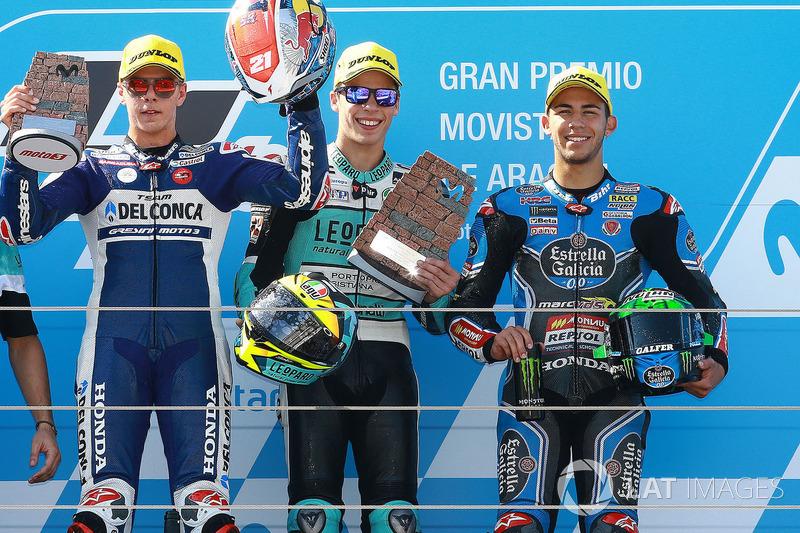 Podi: Joan Mir, Leopard Racing, Fabio Di Giannantonio, Del Conca Gresini Racing Moto3, Enea Bastianini, Estrella Galicia 0,0