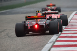 Kimi Raikkonen, Ferrari SF70H, leads Max Verstappen, Red Bull Racing RB13