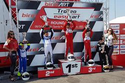 Podium Easykart 60: winner Ruhaan Alva, second place Lorenzo Patrese, third place Adam Kowalski