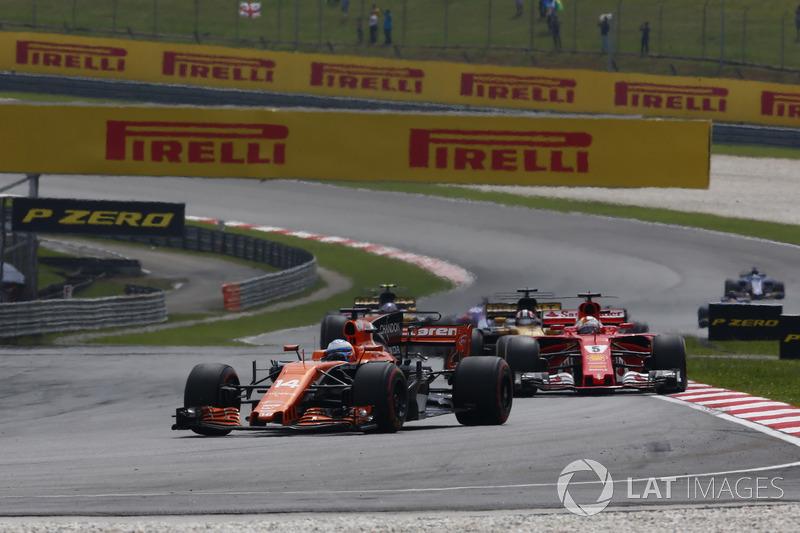 Фернандо Алонсо, McLaren MCL32, Себастьян Феттель, Ferrari SF70H