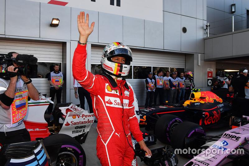 Pole sitter Sebastian Vettel, Ferrari