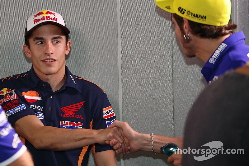Marc Marquez, Repsol Honda Team and Valentino Rossi, Movistar Yamaha MotoGP