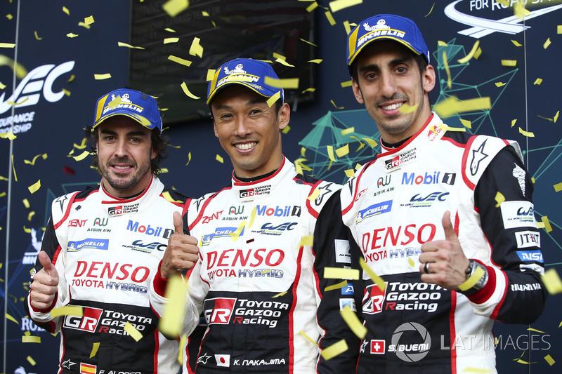 Fernando Alonso, Kazuki Nakajima, Sébastien Buemi, Toyota Gazoo Racing