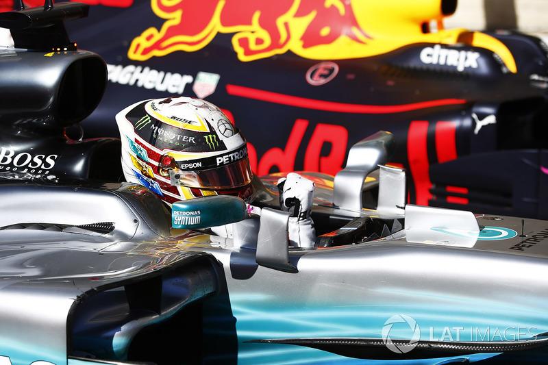 Lewis Hamilton, Mercedes AMG F1 W08, celebra después de ganar