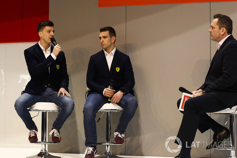 Ferrari FIA WEC Champions, James Calado and Alessandro Pier Guidi, are interviewed by Henry Hope-Frost, on the Autosport Stage