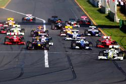 Jenson Button, Brawn Grand Prix BGP 001 lidera al inicio de la carrera