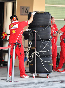 Ferrari engineers and Pirelli tyres