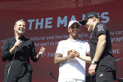 Lewis Hamilton, Mercedes AMG F1, is interviewed on stage, Valtteri Bottas, Mercedes AMG F1