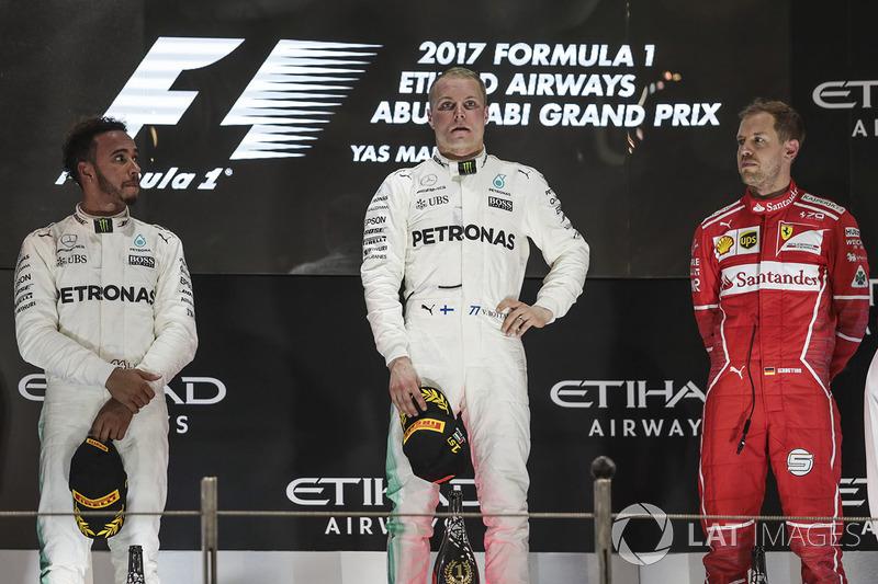 Abu Dhabi GP - Podium:  Valtteri Bottas, 2. Lewis Hamilton, 3. Sebastian Vettel